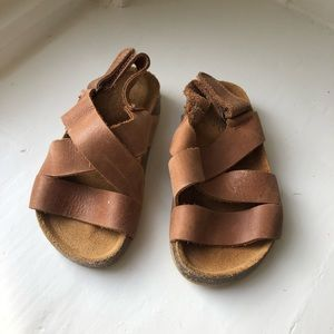 Zara Baby Brown Leather Deck Sandal size 3